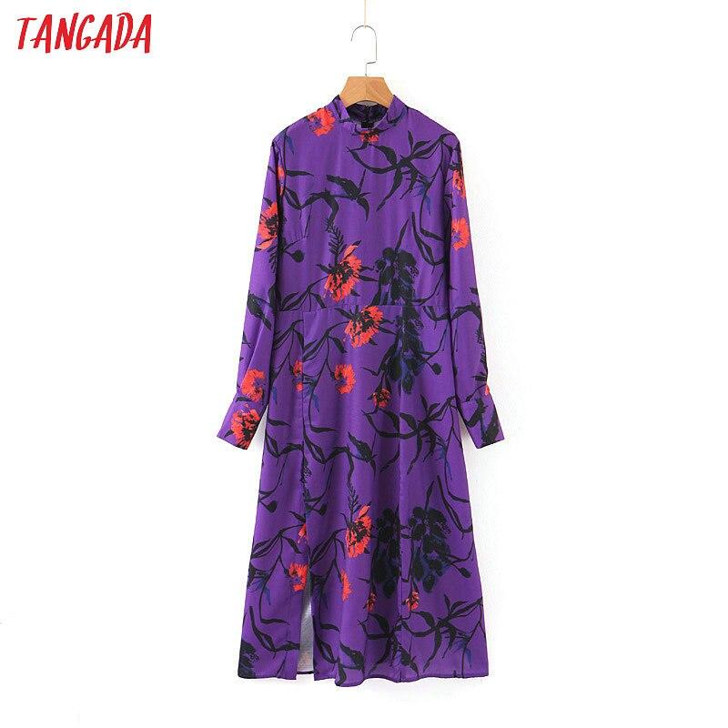 Tangada femmes élégant robe mi-longue col montant manches longues 2019 style vintage femmes côté ouvert robes robes SL402