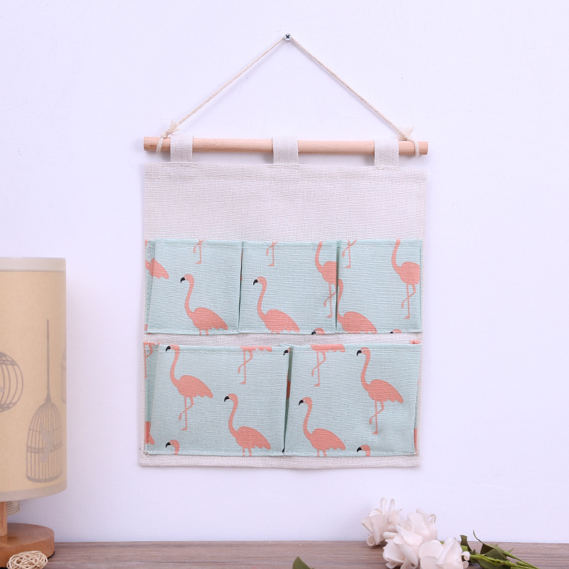 Flamingo Pattern Cotton Linen Hanging Storage Bag 5 Pockets Wall Mounted Wardrobe Hang Bag door Pouch lovely Toys Organizer