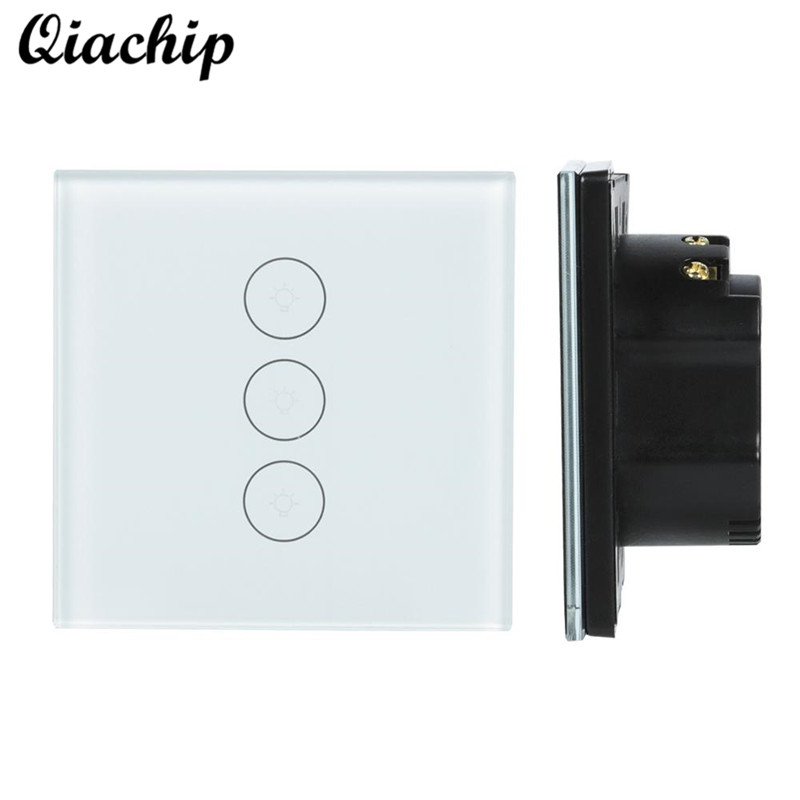 цена на QIACHIP EU Plug 1CH Wall WiFi Wireless App Control For Smart Home Touch Switch Work With Amazon Alexa Control Switch Light LED