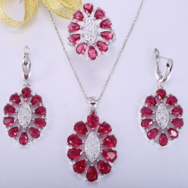 ZHE FAN Rose Red Glass Clear AAA CZ Zircon Big Jewelry Set Women Party Gift 3 Pcs Pendant Earring Ring Random Chain Size 6 7 8 9