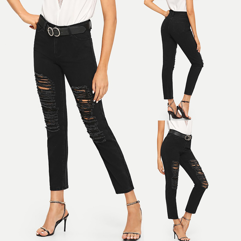 Women Summer Pants 2019 New Stretch Jeans Female Mid Waist Stretch Slim Sexy Pencil Pants Y515