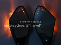 NEW Free Shipping Universal 8MM 10mm Carbon Motorcycle Intergrated Turn Signal LED Mirrors For Honda For