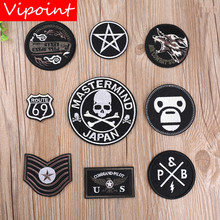 VIPOINT embroidery skull monkey patches black badges applique for clothing YX-236