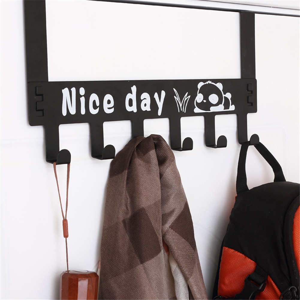 2 Colors Multi-Purpose Paint Spraying Over-The-Door Clothes Towel Detachable Rack Holder Hooks Hanger Nail-Free Installation
