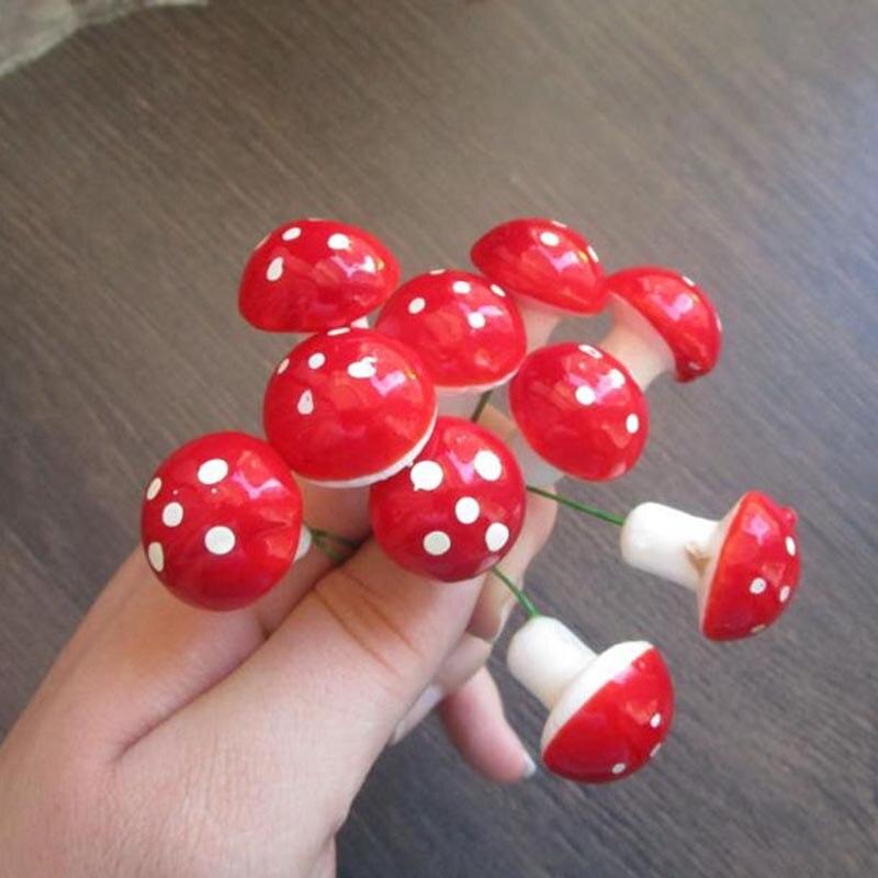30Pcs 1.5x2cm Artificial Mushroom Miniatures Fairy Garden Ornament Terrarium Resin Crafts Decoration Fake Flower Stem Supplies
