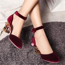 Birdcage Heel Design Women Wedding Dress Shoes Gladiator Mary Janes Chunky High Heels Vintage Flower Decor Women Pumps Stiletto