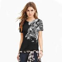 Amerikaanse Kleding Vrouwen Punk T-shirt Mannen Tshirt Leeuwen Digitale Print Tees 2016 Zomer Tops Harajuku Paar Kleding