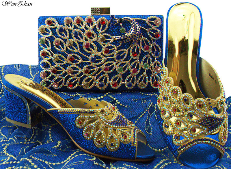 Women Shoes And Clutch Bag Top Quality Italian Shoes and Bag Sets Decorated With Peacock Rhinestone 6.5cm 38-42 WENZHAN B85-15