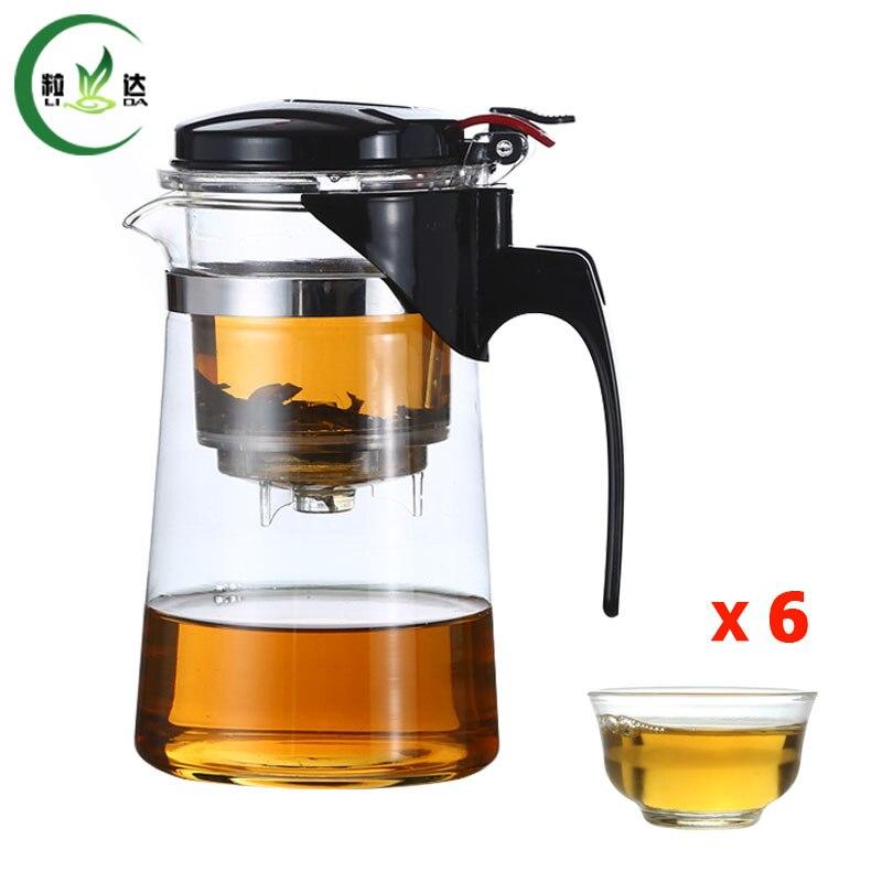 6 pcs Tea Cup + Style B*500ml Glass Teapot With Filter Glass Tea Set With Infuser Green Tea Teapot Da Hong Pao Kettle