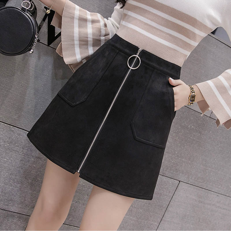 NORMOV 2019 Autumn Winter New Women Suede Leather Mini Skirts Ladies High Waist Zipper Pencil Skirt Pocket Solid Female Skirt