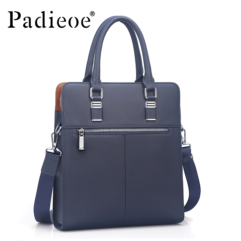 Padieoe High quality men's shoulder messenger bags fashion men handbags Genuine Cowhide Leather business briefcase for men padieoe men s genuine leather briefcase famous brand business cowhide leather men messenger bag casual handbags shoulder bags