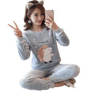 Image 2 - Thick Warm Flannel Pajama Sets for Women 2019 Winter Long Sleeve Coral Velvet Pyjama Girl Cute Sleepwear Homewear Clothing