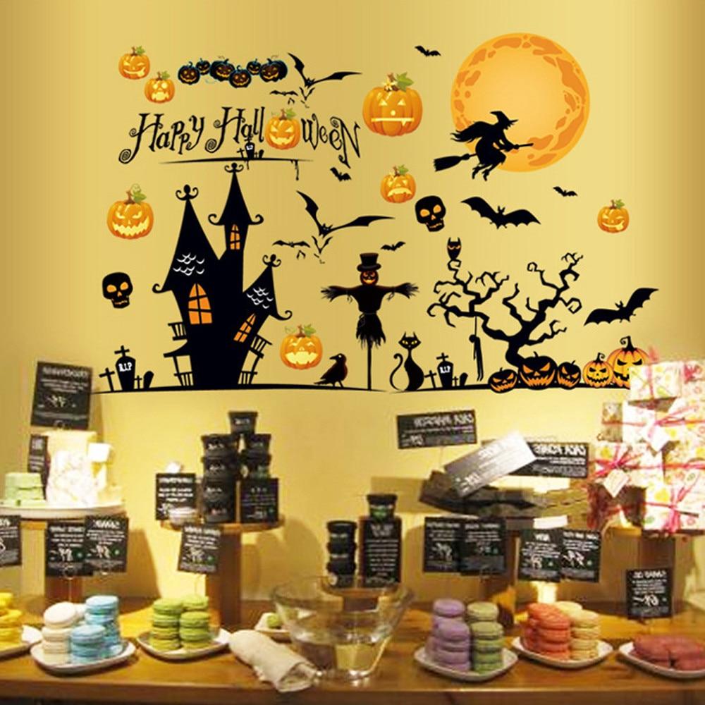 Oujing 3D Happy Halloween дома Бытовая стены комнаты Стикеры Фреска Декор пропуск съемный Новый * маска Хэллоуин * 30 Горячая Распродажа 2017 года