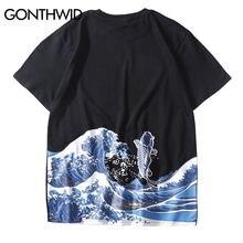 8bd575ba GONTHWID Japanese Ukiyo E Koi Crap Fish Printed Tshirts Streetwear 2019 Mens  Hip Hop Harajuku Casual Short Sleeve Tees Shirts