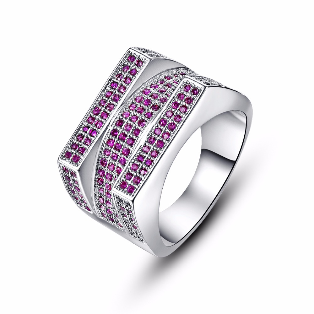Top Quality Round Cut Rose Color Stone Full Crystal Rings Set Cz Gems  Silver Ring For