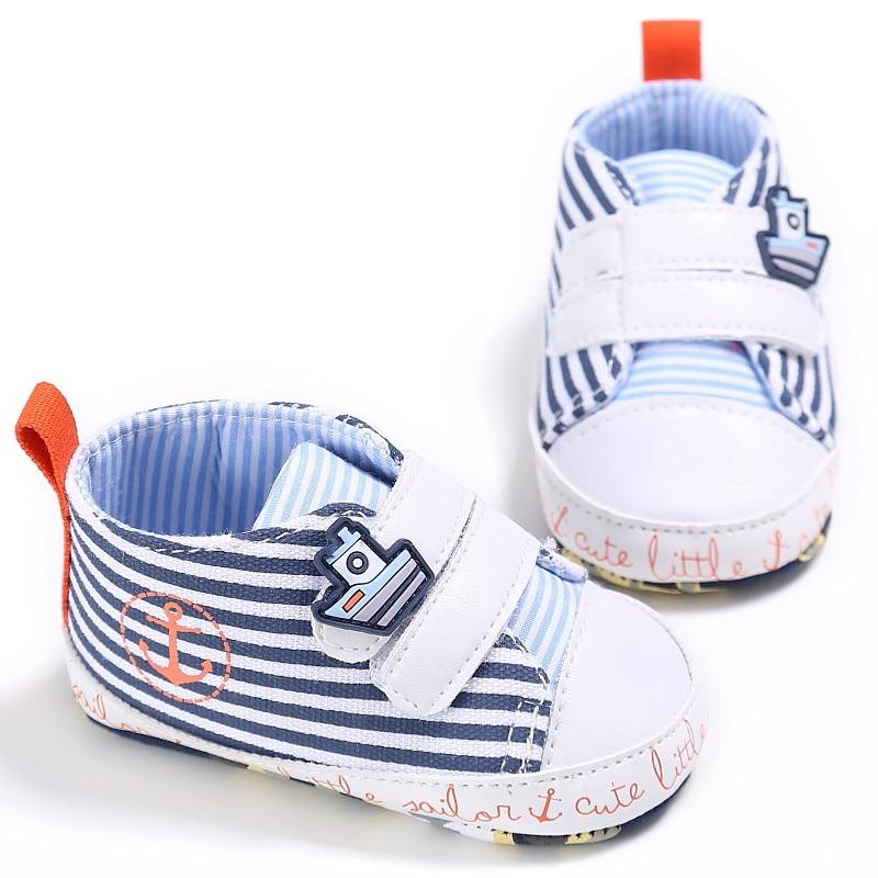 Neue Baby Mode Leinwand Beiläufige Streifen Infant Weiche Lace Up - Babyschuhe - Foto 4