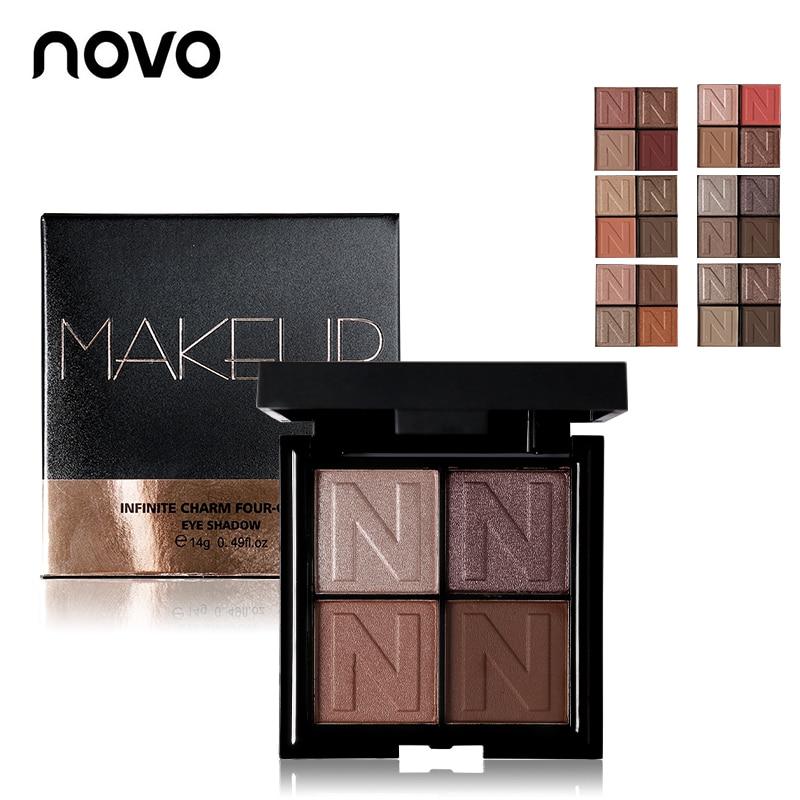 Profesional NOVO Merek Tak Terbatas Pesona 4 Warna Matte Glitter Eyeshadow Palette Shimmer Kosmetik Makeup Bersinar Eye Shadow