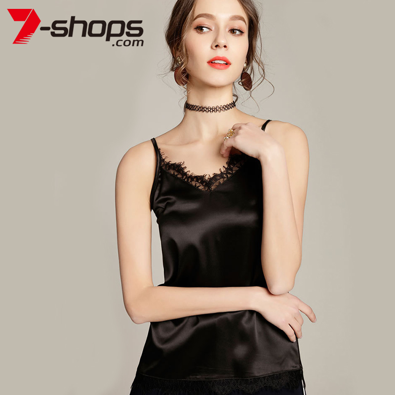 7-Shops AC0017 Lace Trim crop   Top   Women Satin Silk Sleeveless   Tops   V-Neck Cami Adjustable Strap Female Summer   Top   women   tank     top