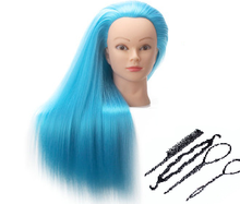 Bright Blue Training Heads For Sale Blue Hair Doll Mannequins Hairdressers Hairstyling Mannequin Female Woman Head