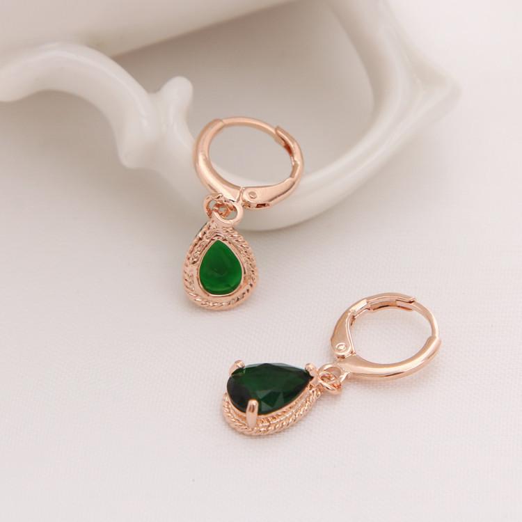 Gold Color Earrings Green Water Drop CZ Stone Pierced Dangle Earrings Women/Girls Long Drop Earrings fashion jewelry 12