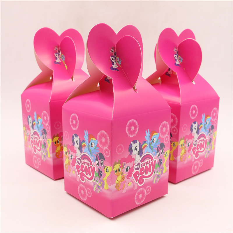 6Pcs/lot New Cartoon My Little Pony Paper Bags Baby Shower Souvenirs Gift Favor Candy Box Kids Girls Birthday Party Decorations