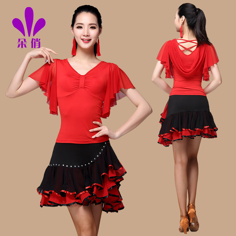 Lady Latin Dancing Suit Plus Size Women Square Dance Clothing Set Top Skirt Female New Summer