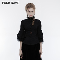 PUNK RAVE Gothic Stand collar Bubble Jacquard Chiffon Women Shirt Cropped Sleeves Black Victorian Blouses Casual Top Clothing
