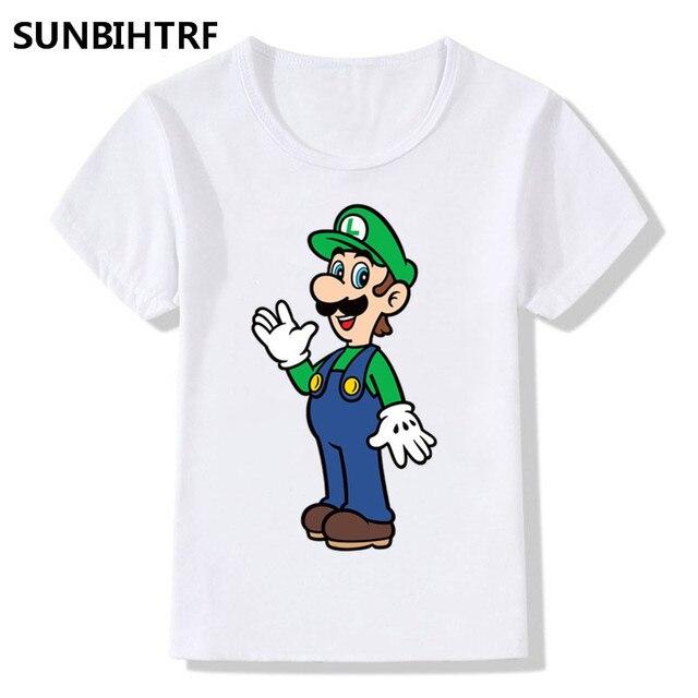362589e50 Big Boys/Girls Cartoon The Super Mario And Luigi Printed Funny T Shirt Kids  Short Sleeve Tops Children's Funny White T-Shirt