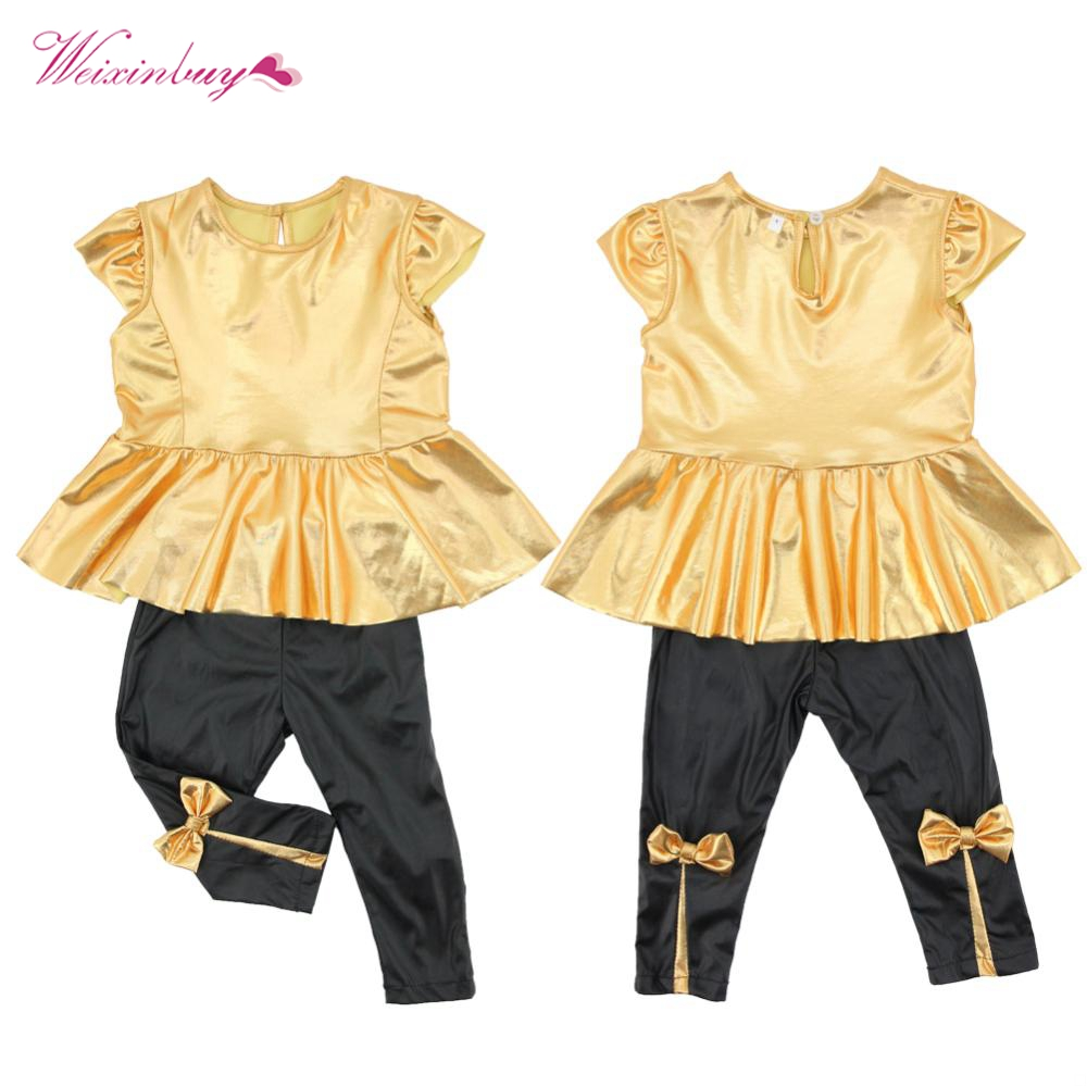 Factory Price, Fashion Baby Girls Kids T-Shirt Tops+ Legging Pants Children Clothes Sets Suit Outfits Golden+Black hot sale 2016 kids boys girls summer tops baby t shirts fashion leaf print sleeveless kniting tee baby clothes children t shirt