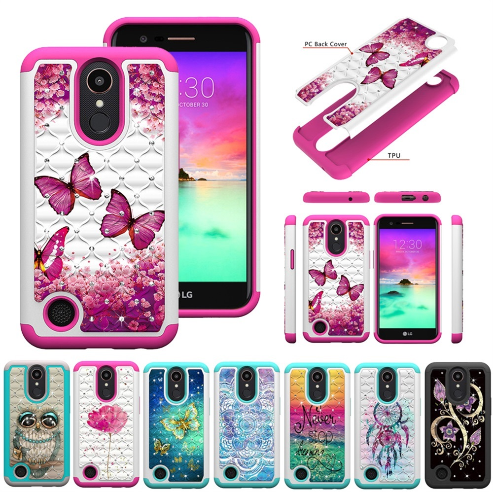 Case For LG K10 2017 Bling Cute Cartoon Hard PC Silicon Case For LG K20 Plus LV5 Soft TPU Cover Coque Shell Fundas Capa