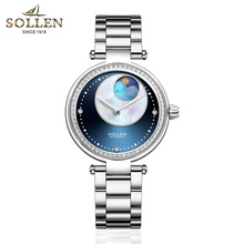 Купить SOLLEN Luxury Brand Automatic Mechanical Watch Galaxy Women Waterproof Diamond Watch Ladies Leather Dress Wrist Watches в интернет-магазине дешево