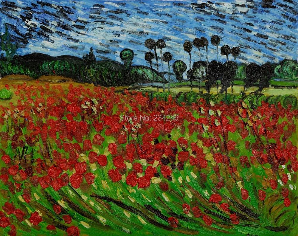 Handpainted Flower Painting Landscape Field Of Poppies Vincent Van