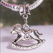 100pcs Ancient silver Rocking Horse Toy Nursery Play Pendants Charms bead fits European Bracelet 29 mm x 23 A12361