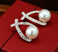 free shipping 1379 Fashion Charm New Lady Elegant Pearl Crystal Rhinestone Ear Stud Earrings
