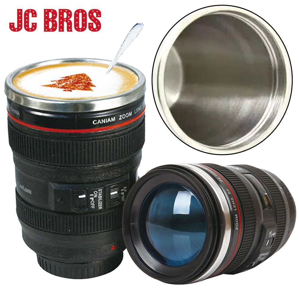 400ml Stainless Steel Camera Lens Shaped Mug With Lid Vacuum Flasks Coffee Mugs Tea Cup Novelty Gifts Caneca Drinkware