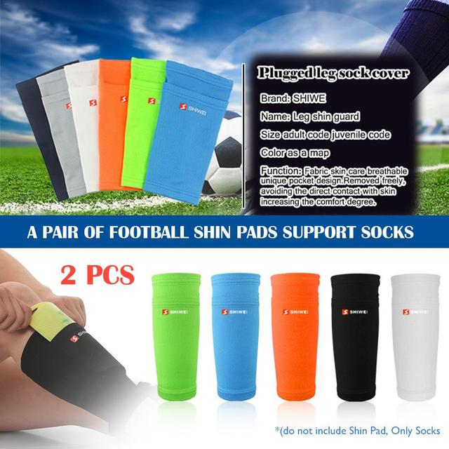 1 Pair Of Football Shin Pads Protect Plugged Leg Sock Cover With Pocket Leg Sleeves Supporting Shin Guard Adult Children Support