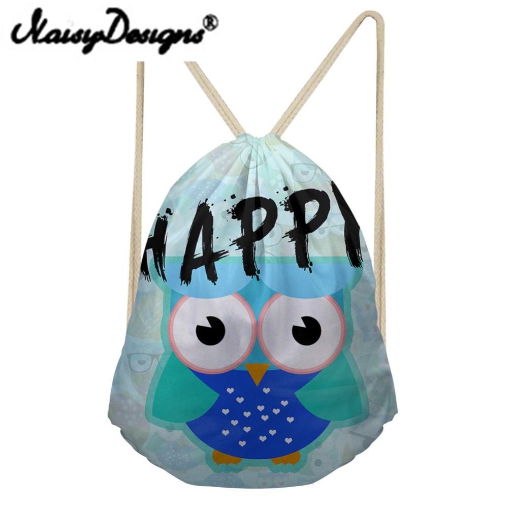 Noisydesigns Women Beach Bags Big-eyed Bird Printing Colorful Cartoon Drawstring Backpack Mochila Kids Girls School Bag