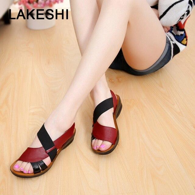 6d88ea8a6cbbc7 Leather Women Sandals Soft Bottom Mother Sandals Peep Toe Fashion Ladies  Sandals 2018 Summer Flat Sandals