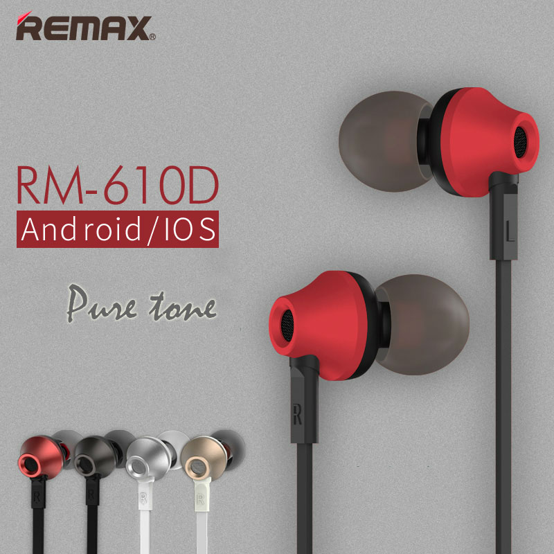Remax RM 610D Base-Driven High Performance Stereo earphone with Microphone and In-Line Control RM-610D remax metal headphones base driven high performance stereo earphone with microphone and in line control rm 305m