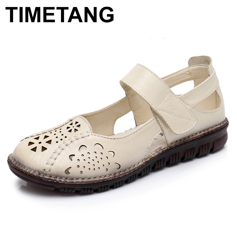 TIMETANG  Summer Shoes Woman Genuine Leather Soft Outsole Closed Toe Sandals Casual Flat Women Shoes New Fashion Women Sandals