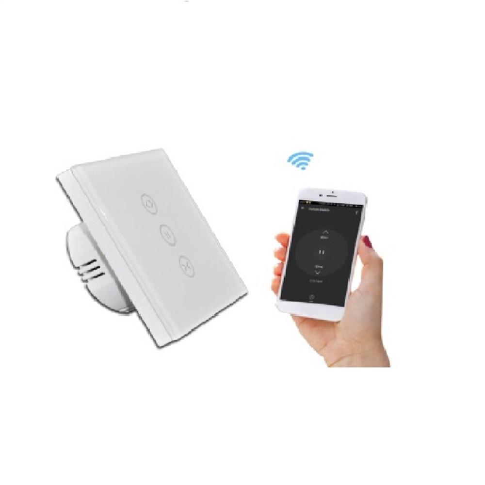 2019 EU Touch Wall Light Switch Smart WiFi Glass Panel Touch Sensor Curtain Wall Switch Shutter on off Via Telephone