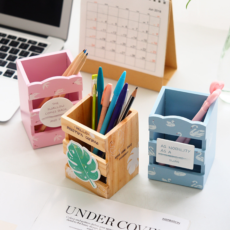 Pen Holders Creative Wooden Elephant Pencil Holder Cute Kawaii Whale Pen Stands Mobile Phone Holder Desk Organizer Office School Supplies Vivid And Great In Style Desk Accessories & Organizer