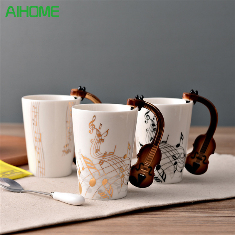Novelty Guitar Ceramic Cup Personality Music Note Milk