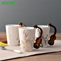 Novelty Guitar Ceramic Cup Personality Music Note Milk Juice Lemon Mug Coffee Tea Cup Home Office