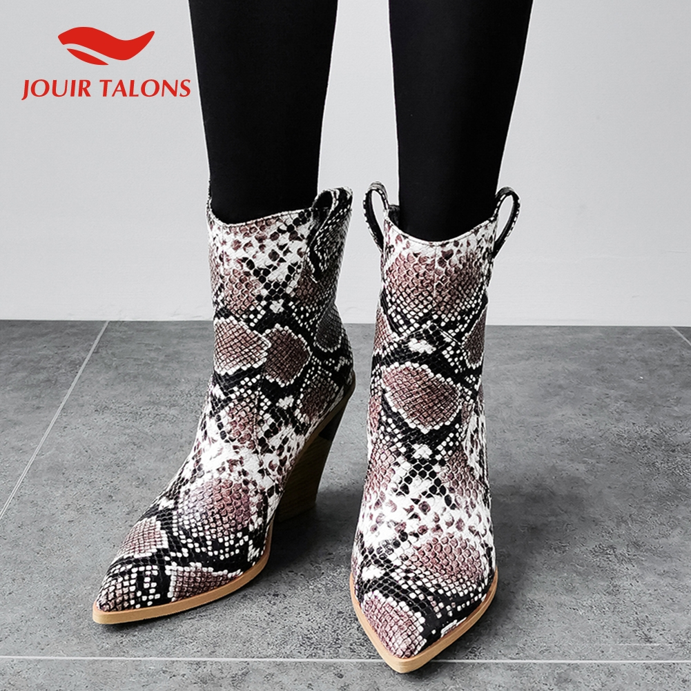 TOP Quality British Style Big Size 34 43 High Heels Ankle Boots Women Shoes Slip On Snake Western Cowboy Boots Shoes Woman