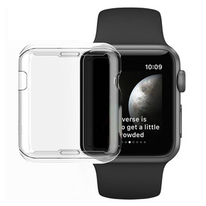 Image 1 - Series 3 Protection Case Clear Crystal Silicone Cover for Apple Watch Series 2 3 Screen Protector Transparent fundas Coque 38mm