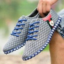 Summer Men Shoes Breathable Mesh Mens Shoes Casual Fashion Low Lace-up Canvas Shoes Flats Zapatillas Hombre Driving Shoes Flats