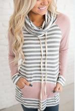 Woman Hoodies Sweatshirts Ladies Autumn Winter Stripe Clothing Scarf Collar Classics Elegance Female Long Sleeve Shirts Hoodie цена