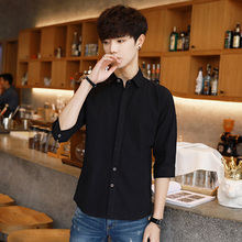 Summer short sleeve shirt seven points Pure men's Trend five-sleeve Slim half-sleeve