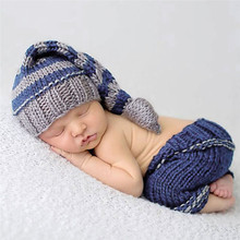 Handmade Knitting Soft Hat Pants Set Baby Clothing Set for 0-4 Months Winter Baby Costumes Suits Newborn Baby Photography Props